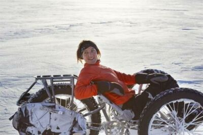 fekvő kerékpárral a Déli-sarkon