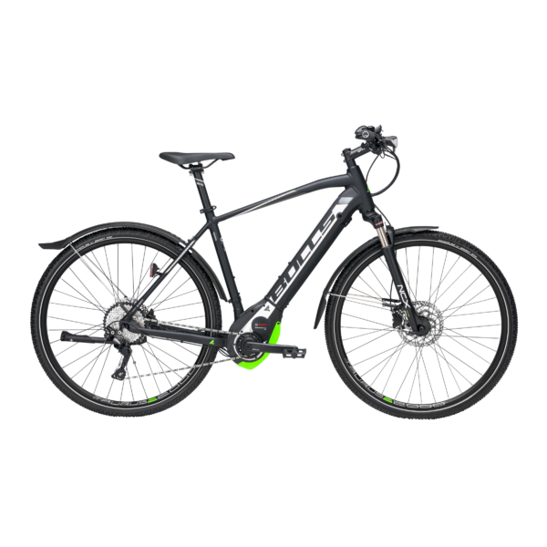 Bulls Cross Rider Evo elektromos kerékpár fekete-fehér-zöld színben