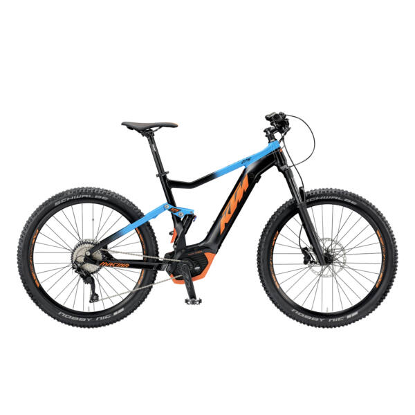 KTM Macina Lycan 275 elektromos kerékpár fekete-kék színben