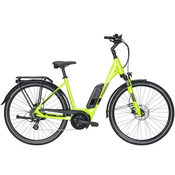 Pegasus Solero E8 elektromos kerékpár neonzöld színben