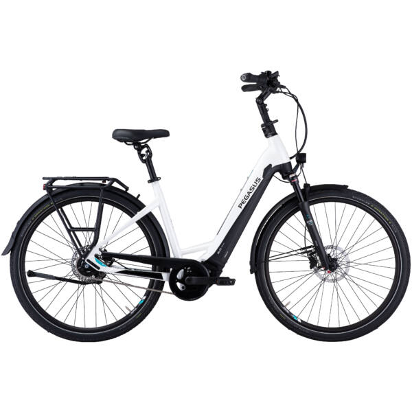 Pegasus Premio Evo 10 Lite Comfort elektromos kerékpár unisex vázzal, fehér színben