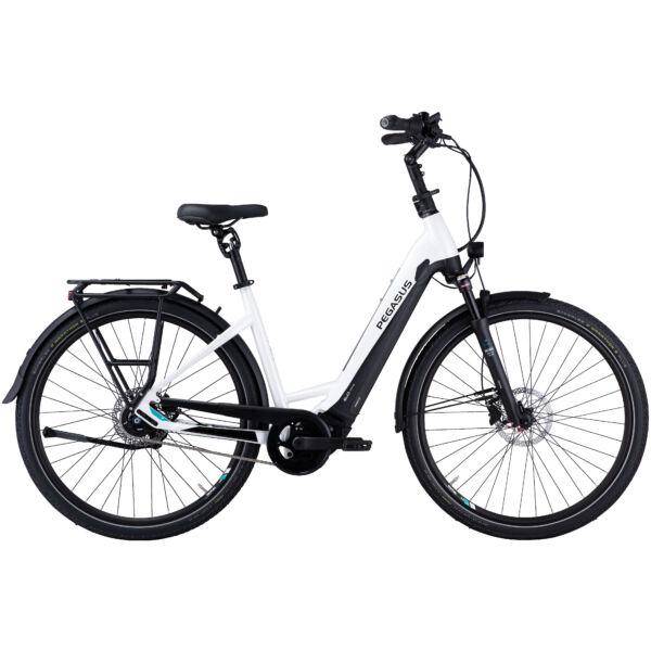 Pegasus Premio Evo 5 Lite Comfort elektromos kerékpár unisex komfort vázzal, fehér színben