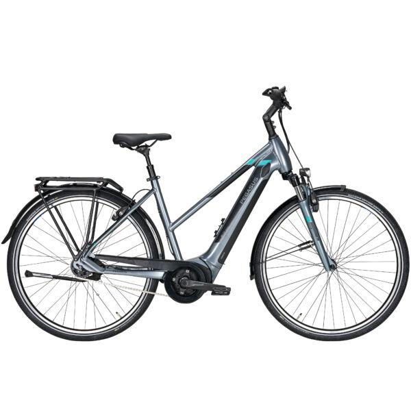 Pegasus Premio Evo 5F elektromos kerékpár ezüst színben, női vázzal