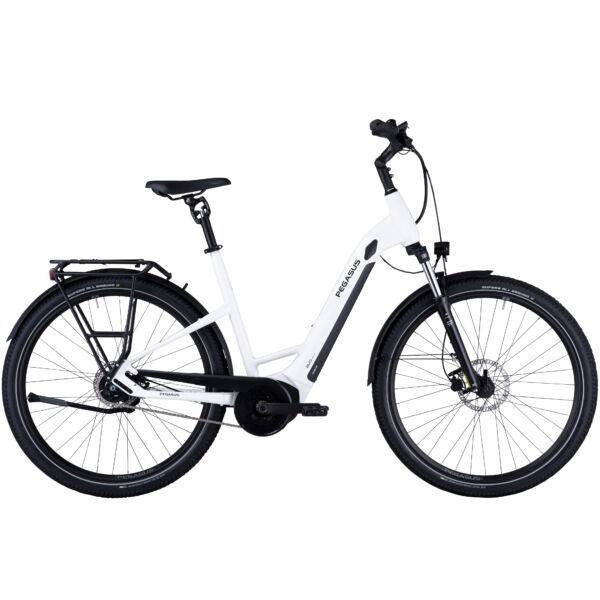 Pegasus Savino Evo 5R Performance unisex, komfort vázas SUV elektromos kerékpár fehér színben
