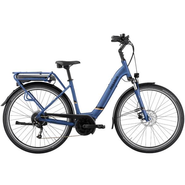 Pegasus Solero E9 Lite elektromos kerékpár komfort vázzal, kék színben