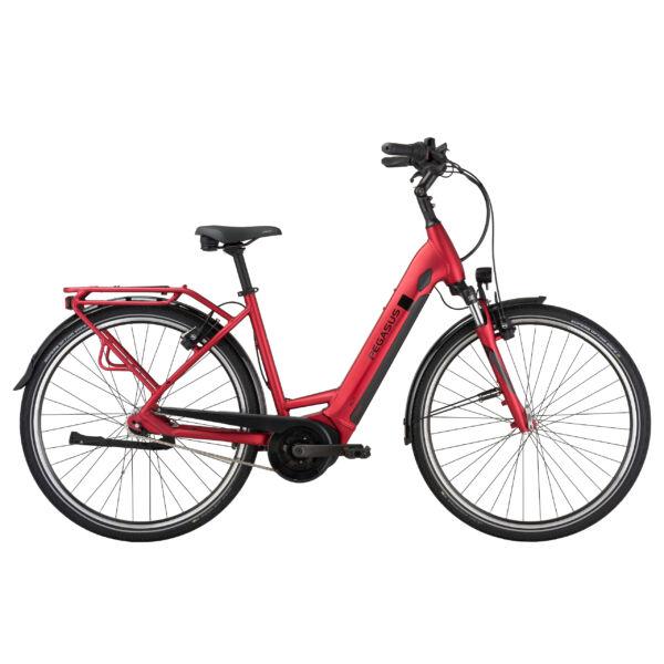 Pegasus Solero Evo 7R Plus elektromos kerékpár komfort vázzal, piros színben