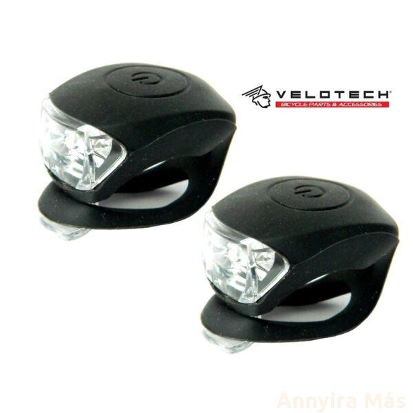 Villogó Velotech 2LED fekete